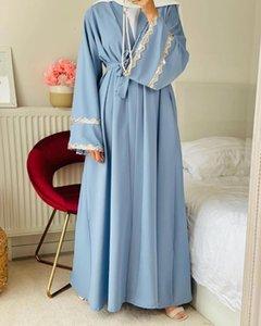 Ethnic Clothing Ramadan Eid Open Abayas For Women Dubai Abaya Kimono Turkey Lace Splice Muslim Hijab Dress Islam Kaftan Robe Musulmans