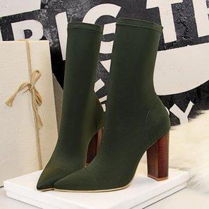 Ayak Bileği Çizmeler 2021 Streç Çorap Tıknaz Blok Yüksek Topuklu Fetiş Seksi Ayakkabı Kadın Moda Ipek