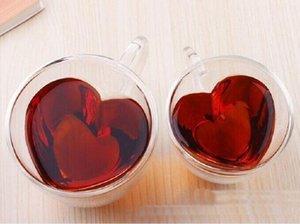 Corazón amor forma doble pared vidrio tazas resistente kungfu tazas de té leche leche de jugo de limón taza de bebida amante taza de café regalo preferido
