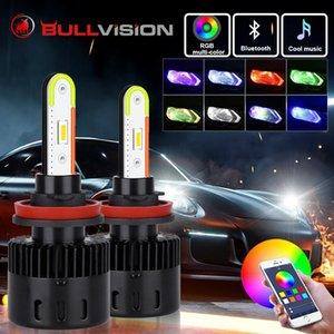자동차 헤드 라이트 2pcs 주변 RGB H4 LED H11 H7 9006 9005 CSP 전구 음악 사운드 헤드 라이트 전구 원격 앱 블루투스 제어 조명
