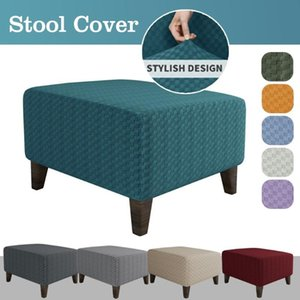 Ottoman Stool Cover Slipcover Jacquard Square Footstool Sofa Furniture Protector Covers Footrest Chair