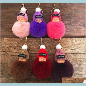 Cute Sleeping Baby Doll Keychain Pompom Rabbit Fur Ball Carabiner Key Chain Keyring Women Kids Key Holder Bag Pendant Key Ring Gift 0M Yxnkg