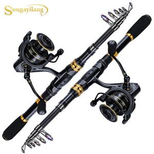 Sougayilang Fishing Rod Combo Spinning Wheel Sea 1.8-3.3M Full Kit Reel Tackle