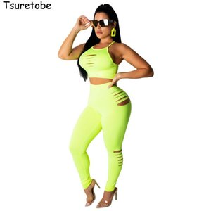 Tsuretobe Sexy Hole Bodycon Two Piece Set Women Summer Clothes Crop Top And Pant Female Fashion Beach Tracksuit Vestidos Women's Pants