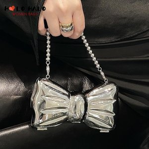Evening Bags Women's Bag Metal Bow Shape Clutch Mini Party Purse For Female Silver Small Box Chain Shoulder Top Quality