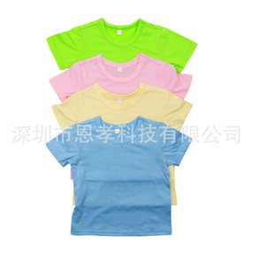 Candy Colors Summer Heat Transfer Baby T-shirt Blank Thermal Transfer Printing Short Sleeve Kids Boys and Grils Round Neck Tops Tee Clothing H917XV75