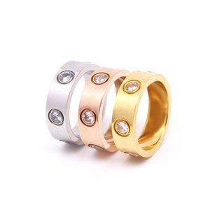 Diseñador para mujeres Hombres Anillo Zirconia Compromiso Acero Titanio Anillos de boda Oro Rosa Joyería de moda Regalos Accesorios Mujer Sin caja