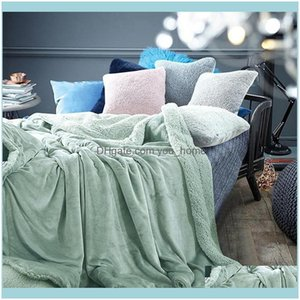 Blankets Textiles & Gardenwinter Thick Keep Warm Solid Color Flannel Soft Sofa Throw Blanket For Home Office Air Conditioning Bedspread Blan
