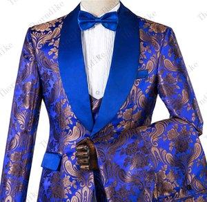 Thorndike 로얄 블루 슬림 맞춤 구리 패턴 정장 새로운 패션 남자 재킷 + 바지 + 조끼 3 조각 고품질 남성 웨딩 슈트