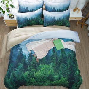 Wheat Field Snow Mountain Tree Forest 3D Scenic Bedding Set Twin Queen King Size Duvet Cover Bed Sheets Pillowcase Digital Print dsf0778