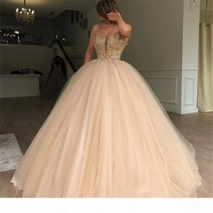 Gold Sequined Prom Dresses 2019 Spaghetti Straps Ball Gown Beaded Debutante Masquerade Vestidos De Birthday Sweet 16 Quinceanera Gowns