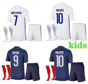 France Enfants Home Jersey de football 21-2 22 A2 22 Mbappe Grieuzmann Kante Pogba Maillots de Football Maillot Equipe French Child Kit Chaussettes