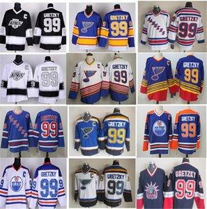 Vintage CCM Gelo Hóquei 99 Wayne Gretzky Jersey Mens New York Rangers St Louis Blues La Los Angeles Reis Edmonton Oilers Azul Branco