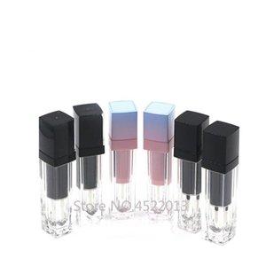 Tarjetas de almacenamiento de botellas de almacenamiento 4ml Cosmético Pink Lip Gloss Tube, Belleza Black Black Makeup Herramienta Lipgloss Botella, Plástico DIY Lápiz labial PROFESIONAL P