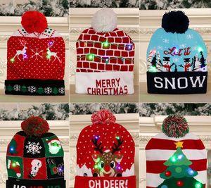 Christmas Light Caps Children Winter Warm Knitted Hat Boy Girl Protect Ear Beanie Lucky Deer Design