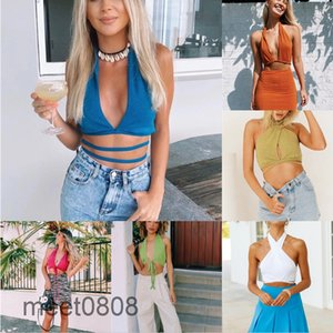 Women vest 2021 summer new Designer Fashion Spring women's various ways to wear halterneck top small sling Solid color Hollow out suspender meet0808