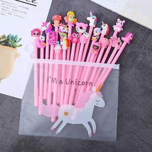 20pcs set Cartoon Unicorn Gel Pen Lucky Random Partten Pens Set Stationery School Supplies Office Suppliers Kids Gifts 0374