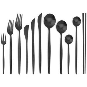 Schwarz Geschirr Set Matte 304 Edelstahlbesteck Messer Gabel Löffel Essstäbchen Besteck Geschirr Silberwaren Sets