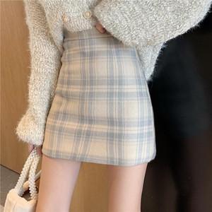 Skirts Woolen Short Skirt Women's Autumn And Winter 2021 Korean Version Of Tartan High-waisted
