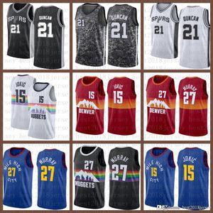 2021 New Basketball Jersey DenverPepitasSan masculino antonioSpurs Nikola Jamal 27 Murray 15 Jokic Tim 21 Duncan Army Green