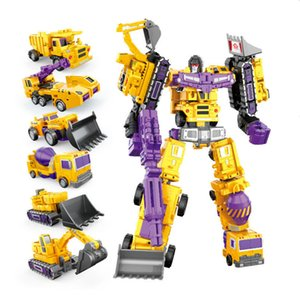 6 in1 Transformation Robot Toys Action Figures Diecast Engineering Deformed Toy Cars Blocks Assemble Educational for Childrens Boys