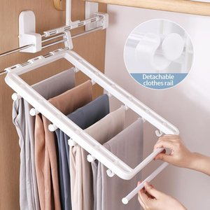 Hangers & Racks Household Foldable Stretch Trouser Rack Shelf Organizer Closet Organizers Hanger Thickened Storage For Clothes