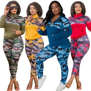 Women's Tracksuits Plus Size S-5XL 2 Piece Outfits For Women Camouflage Printed Stretch Casual Joggor Fitness Matching Set Wholesale Drop
