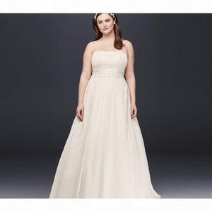 Simple A-Line Waist Plus Size Wedding Dress Chiffon Strapless Empire Designer Open Back Bridal Gowns 9V9743