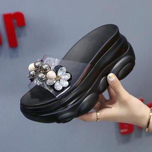Slippers 2021 Women Chunky Platform PVC 8cm High Wedges Shoes Woman Luxury Designers Flip Flops Ladies Outside Casual Slides