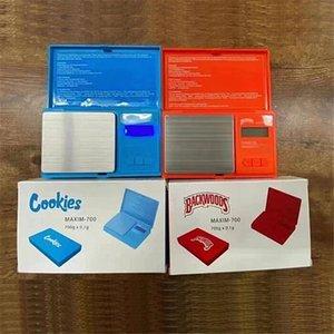 Cookies Backwoods Batterie haute précision Échelle Numérique 700g 0.1G Bijoux Tabac d'or Stabac Poids Vapes de mesure Dispositif de mesure Flip Style Kit de style rouge Bleu Cadeau