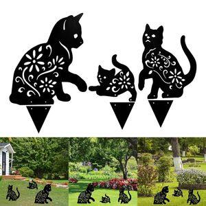 1 Takım Metal Kedi Siluet Siluet Püresi Sanat Peri Bahçe Yarı Ev Dekorasyon Açık Çim Bahçe Süsler Süslemeleri