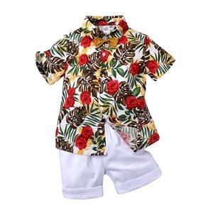 Çocuk Erkek Yaz Giysileri Set Toddler Beyefendi Çiçek Gömlek Üstleri Kıyafetler Kıyafetler 2 adet Çocuk Erkek Rahat Giyim Setleri