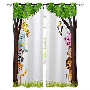Curtain & Drapes Jungle Forest Cartoon Animal Lion Elephant Giraffe Zebra Tiger Bird Monkey Window For Living Room Kids Bedroom