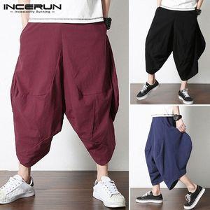 2020 2020 Summer Men Harem Pants Vintage Joggers Male Plain Calf Length Pants Elastic Waist Baggy Cotton Linen Trousers Plus Size 25YE#