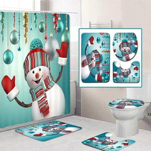 Feliz Natal Chuveiro de Chuveiro Banheiro Conjunto de Boneco de Neve Santa Pai Padrão Impermeável Toilet Toilet Mat Non Slip HWB7462