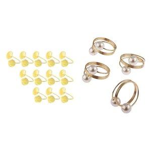 12pcs Perle Serviette Boucle Boucle Hoop Bagues Circle Porte-serviette Gold 12 pcs Shell