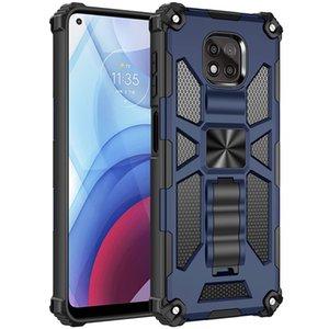Capas telefônicas para Motorola Moto G Play 2021 Armadura Híbrida Invisível Kickstand Captura à prova de choque magnética B