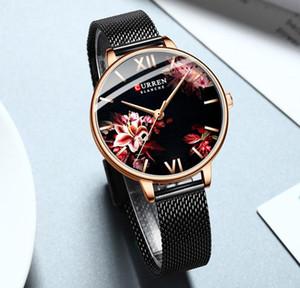 WritWatches Curren Женщины Кварцевые Часы Элегантные Очаровательные наручные часы Для Женских Симпатинской Стальной Сетка Band Цветочные Часы Женские