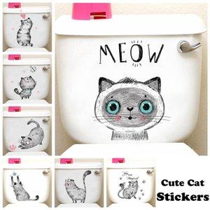 Window Stickers Lovely Cat Dog Toilet Home Decoration Diy Funny Cartoon Animal Wc Mural Art Vivid 3d Kitten Puppy Safari Pvc Wall Decal