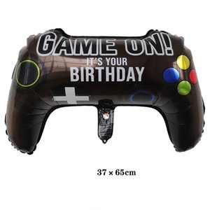Black Gamepad Boy Inflate Toy GAME ON Foil Balloon Happy Birthday Decoration Game Match Props Gaming Tool Air Ball
