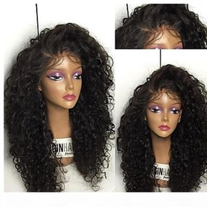 저렴한 아프리카 계 미국인 가발 150 % 긴 검은 아프리카 변태 곱슬 합성 가발 흑인 여성을위한 내열성 Gluelese 레이스 프론트 가발