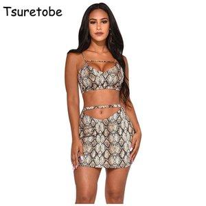 Tsuretobe Sexy Snake Print Two Piece Set Women Bodycon Mini Skirt + Spaghetti Strap Tops Off Shoulder Beach 2 Vestido Women's Pants