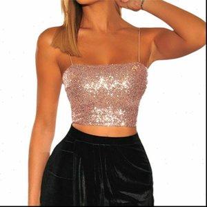 Frauen Camis Sexy Verband Lace Up Halter Crop Top Pailletten Tank Weste Trägerlose Bandeau Stretch Clubwear Blusa
