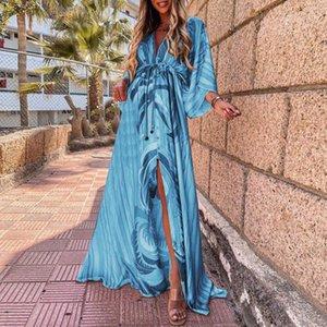 Casual Dresses Bohemian Maxi Dress Women Vintage Tie Dye Print Holiday Boho Long Ladies Summer Vacation Beach Party Robe