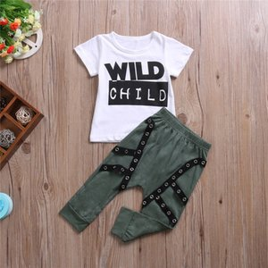 Wild Child Print Short sleeve T-shirt and Solid Pant 2pcs Set For Toddler and Baby Boy