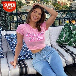 Letter Cropped T-hirt Ladies Round Neck Pink Short Sleeve Summer T shirt Slim Cotton Minimalist Women 2021 #Wg9e