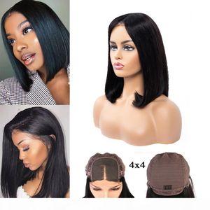 Human Hair Lace Frontal Wigs Brazilian Straight Bob 4x4 Bob Short lace wigs 150% Density Natural Color Gagaqueen Hair