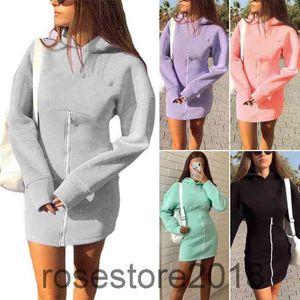 2021 winter solid women Sexy Mini Dress Women Casual Loose Hooded Sweatshirt Dress Elegant Zip Long Sleeve Party Dress A608