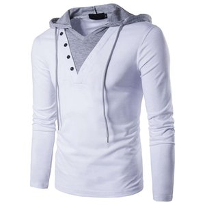 t shirt Men's spring youth trend simple European size personalized long sleeve color matching hooded T-shirt