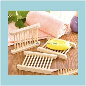 & Garden Dishes Aessories Natural Wood Tray Dish Bath Shower Plate Home Bathroom Wash Soap Holder Storage Organizer Drop Delivery 2021 Xaadu